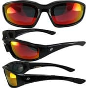 Oriole Foam Padded Sunglasses - Red Revo Lens for Skydiving   Motorcycling   Dry Eye   Cycling @ Specs4sports